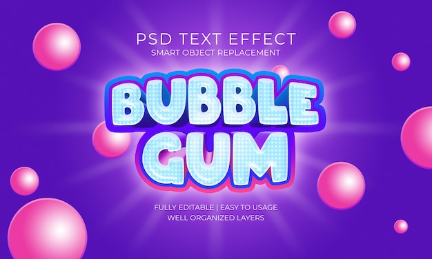 Chewing bubblegum purple and blue text effect template