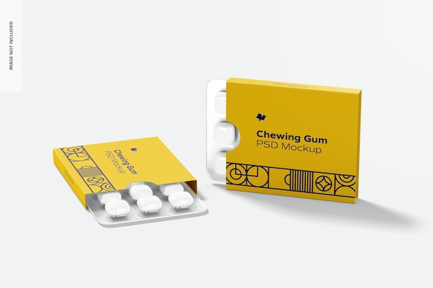 Chewing gum packaging mockup, front view