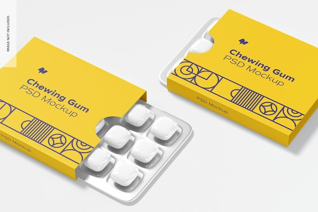 Chewing gum packaging mockup, 좌측 모습