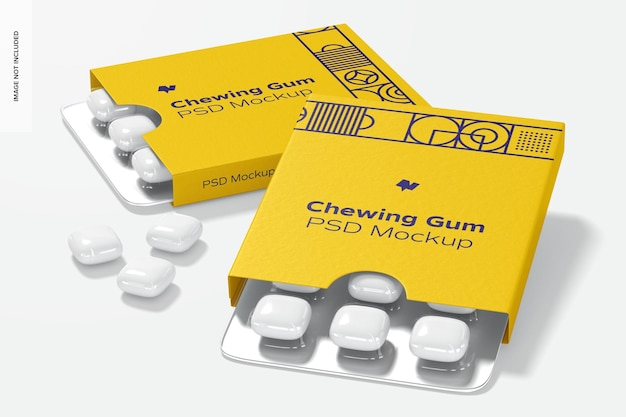 Chewing gum packaging mockup, 우측면