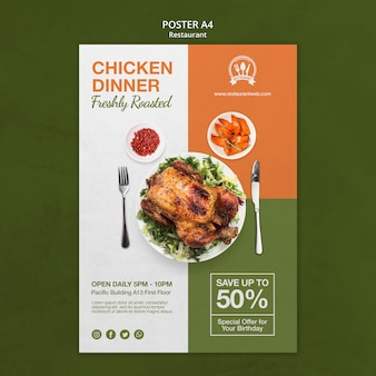 Chicken dinner restaurant poster print template