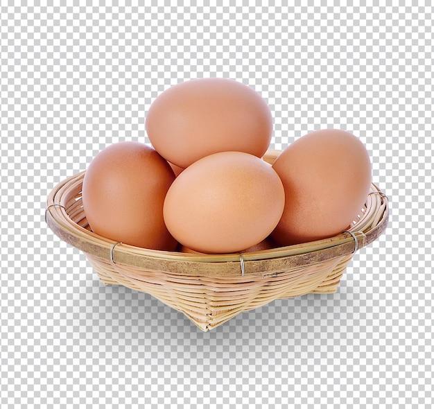 고립 된 대나무 바구니에 닭고기 달걀 프리미엄 psd