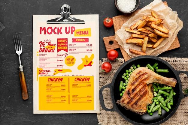 치킨 식사 준비 모형 프리미엄 PSD 파일