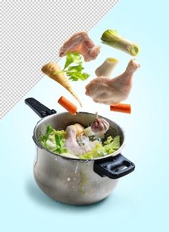 Ингредиенты куриного супа падают в кастрюлю