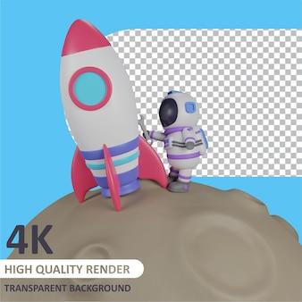 月面でロケットを修理する子供の宇宙飛行士キャラクターモデリングの3dレンダリング