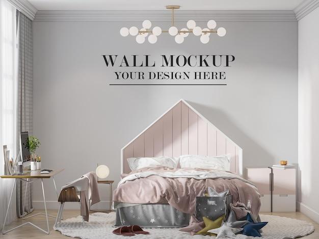 Child bedroom wall mockup behind house headboard bed