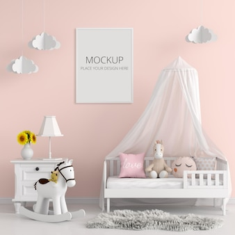 Child bedroom with frame mockup