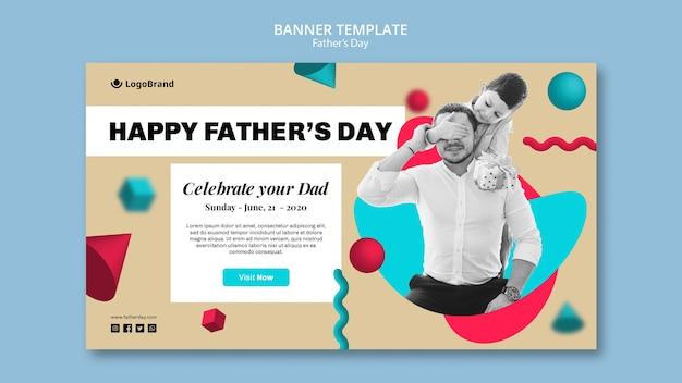 Ребенка, охватывающих лицо отца баннер шаблон