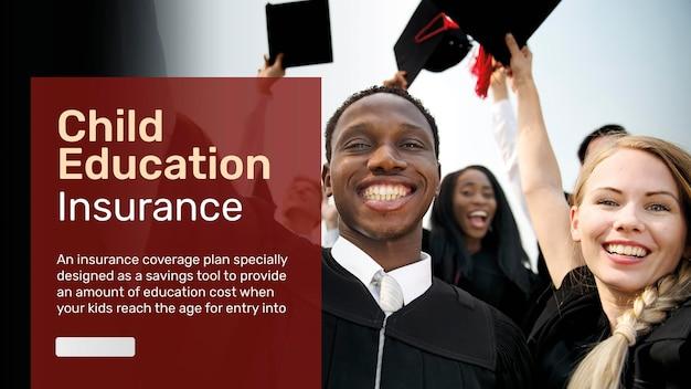 Modello di assicurazione per l'istruzione dei bambini psd per banner blog con testo modificabile