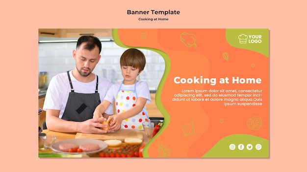 Child helping his father in the kitchen banner