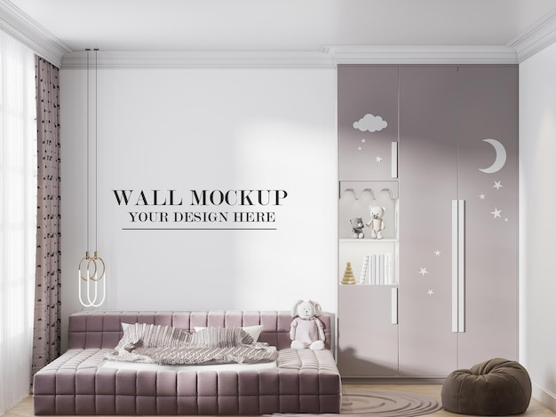 Child room empty wall background for your design