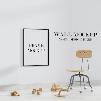 Child room empty wall and frame mockup