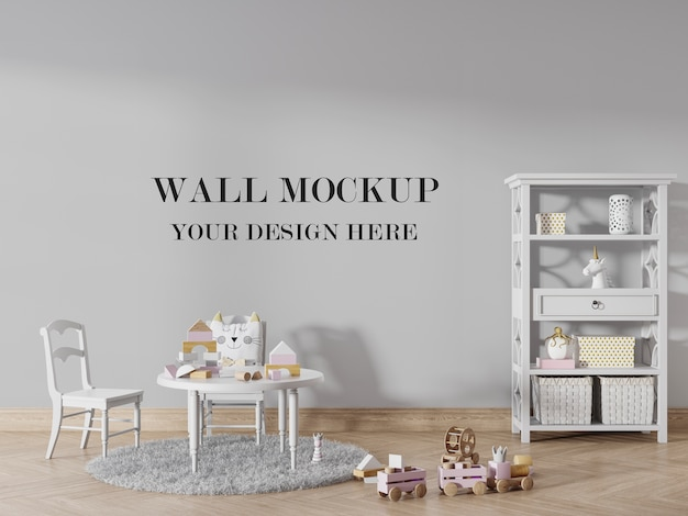Child room mockup to change the wall surface