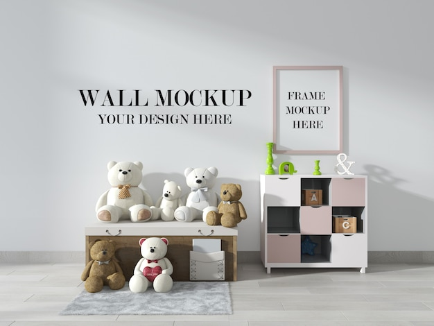 Макет стены и фоторамки в детской комнате с мишками тедди в комнате