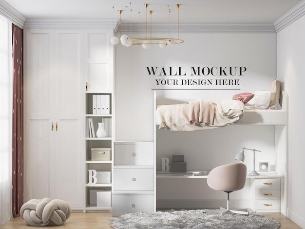 흰색 이층 침대 가구 뒤에 있는 어린이 방 벽 모형
