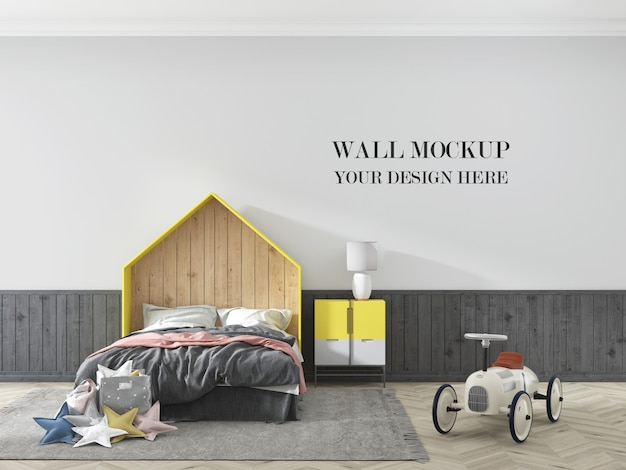 Child room wall mockup with furniture and car toy