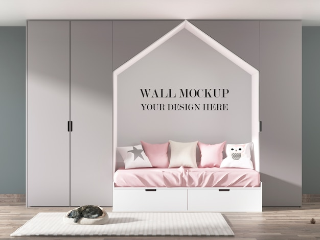 Child room wall mockup with furniture and sleeping cat