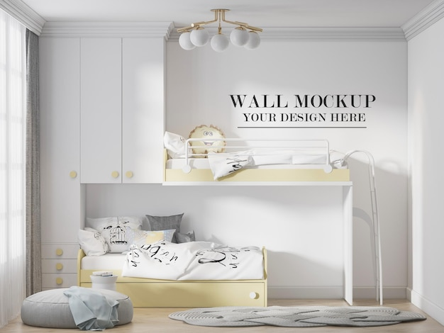 Child room wall mockup behind yellow white furniture