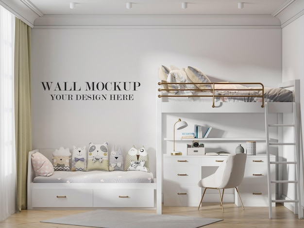 Child room wall template in 3d rendering