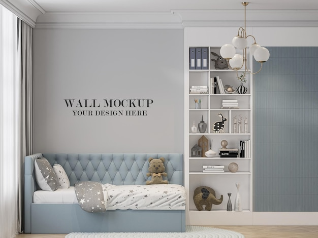 Child room wall template behind light blue bed in 3d rendering