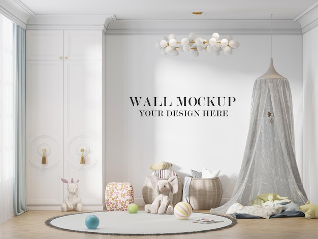 Child room wall template behind play tent