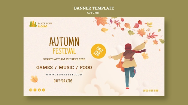 Child running autumn festival banner template