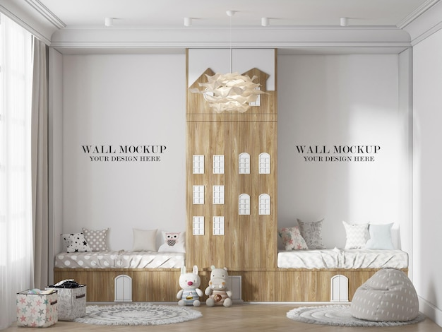 Children bedroom wall mockup with house shaped closet in interior