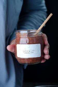 Children chocolate pudding dessert in jar mockup