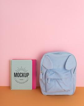 Children desk mockup with backpack
