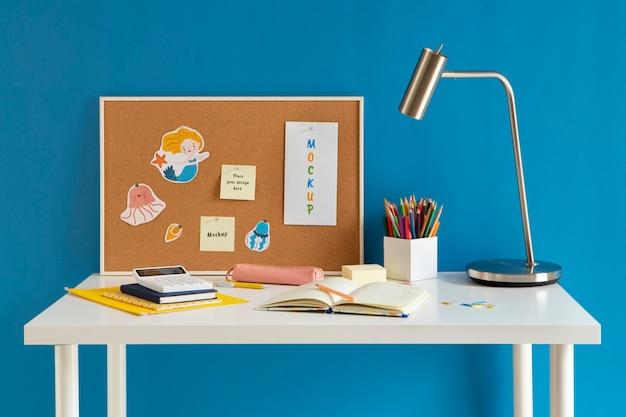 Children desks with still life mockup