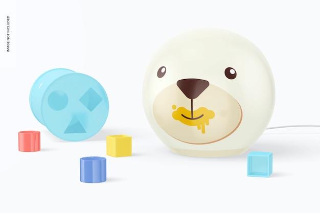 Детская круглая настольная лампа с игрушками, макет