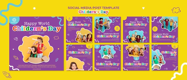 Children's day social media post template