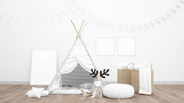 Children's play room with indian tent for kids and cute decoration