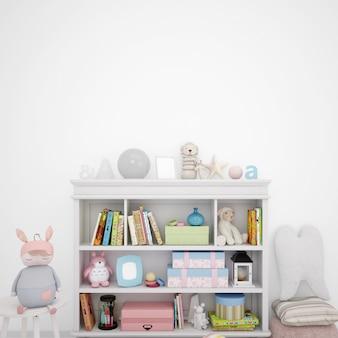선반 가구와 많은 장난감을 갖춘 어린이 놀이방