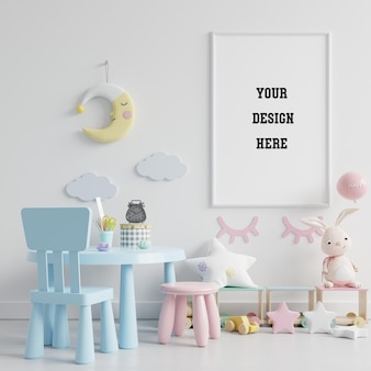 Children's playroom with mock up poster