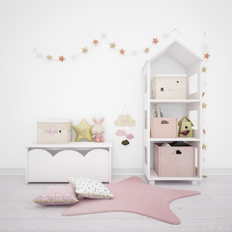Children's room decorated with cute objects and white furniture