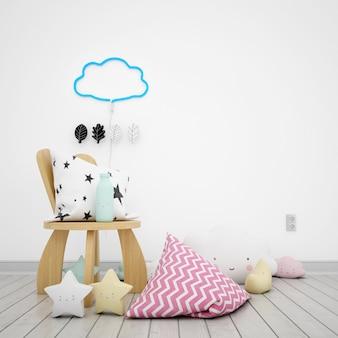 Camera per bambini decorata con nuvole e stelle kawaii