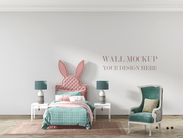 Children's room wall mockup with bed and armchair
