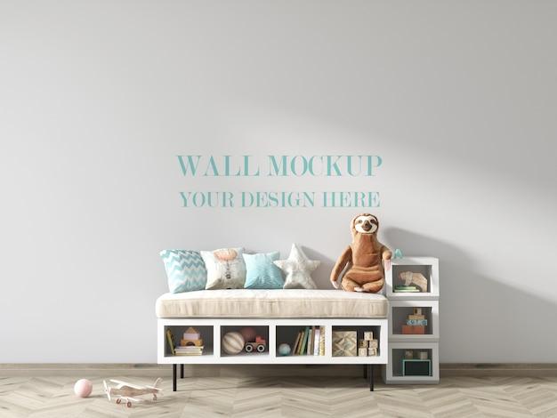 Детская комната настенный макет с игрушками и полочками