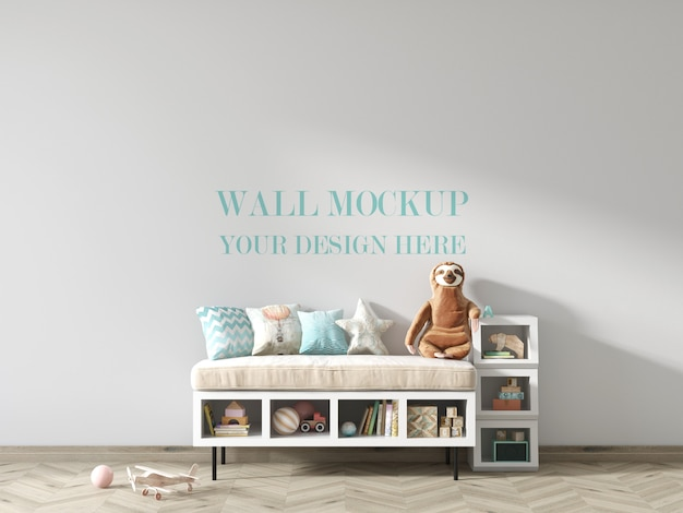 Children's room wall mockup with toys and shelves