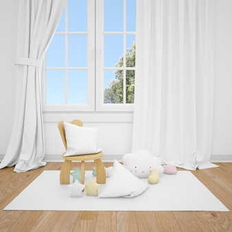 Детская комната с маленьким стулом и белым окном