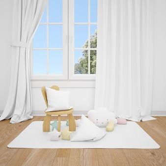 小さな椅子と白い窓のある子供部屋