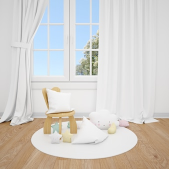 Children's room with little chair and white window