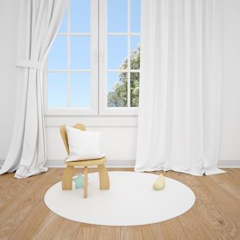 Cameretta con poltroncina e finestra bianca