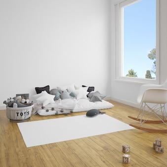 木製の床にソファとカーペットのある子供部屋