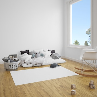 Children's room with sofa and carpet on wooden floor