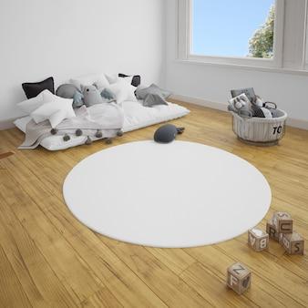 Camera dei bambini con divano e moquette sul pavimento di legno