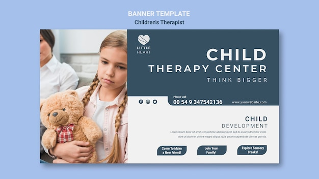 어린이 치료사 개념 배너 서식 파일