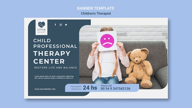 Children's therapist concept banner template