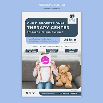 Children's therapist concept flyer template